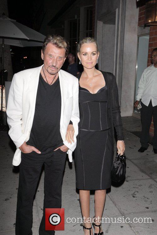 Johnny Hallyday and Laetitia Boudou leaving Mr Chow...