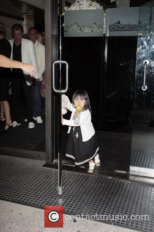 Johnny Hallyday and daughter Jade leaving Mr Chow...