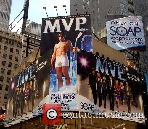 A massive billboard in Times Square promoting the...