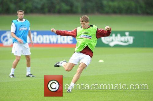 Steven Gerrard during the England Training session at...