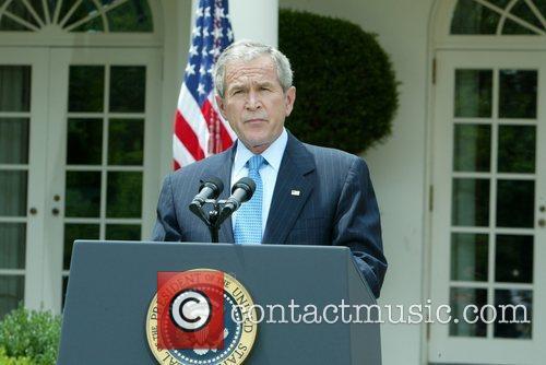 US President George W. Bush  announces his...