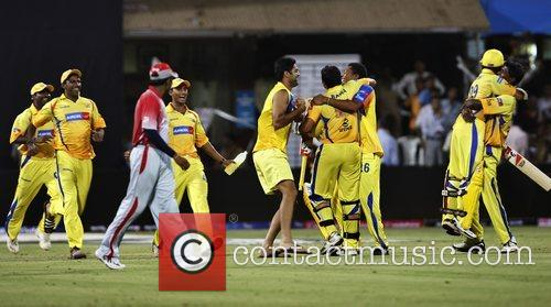 Players of Chennai Super Kings  celebrates after...