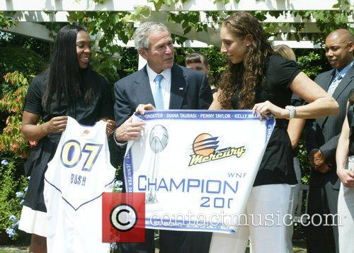 President George Bush welcomes the 2007 WNBA Champion...
