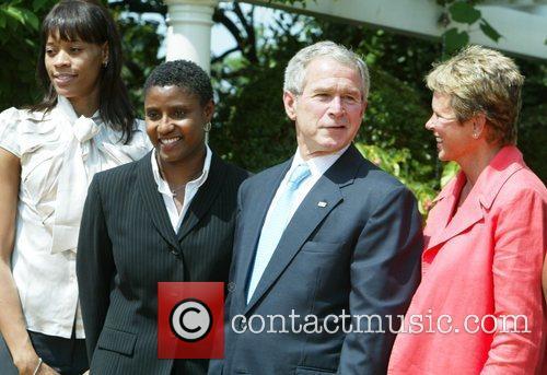 President George Bush welcomes the 2007 WNBA Champion...