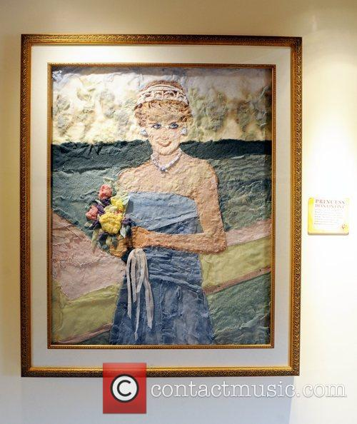 Princess Diana artwork made of dryer lint on...