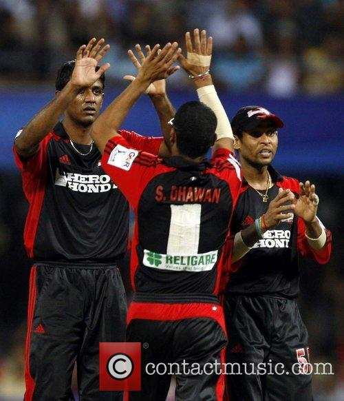 Farveez Maharoof  player of Delhi Daredevils celebrates...