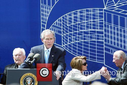 Rev. Theodore Martin Hesburgh, President George Bush, Nancy...