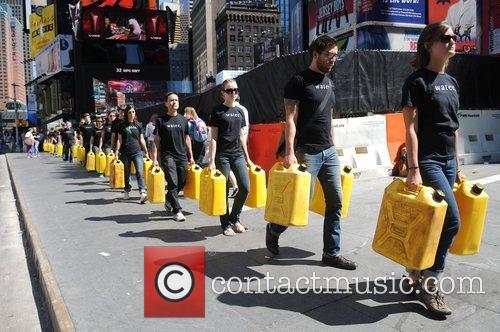 Charitywater.org protest about water-related diseases in Times Square...