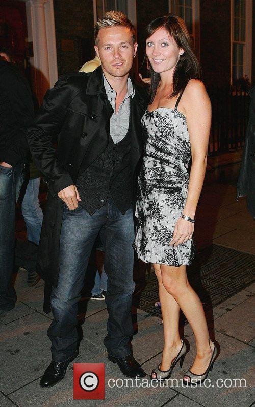Nicky Byrne and his wife Georgina Ahern celebrate...