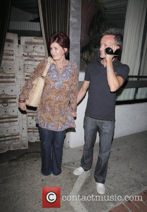 Sharon Osbourne and guest leaving Sur Restaurant Los...