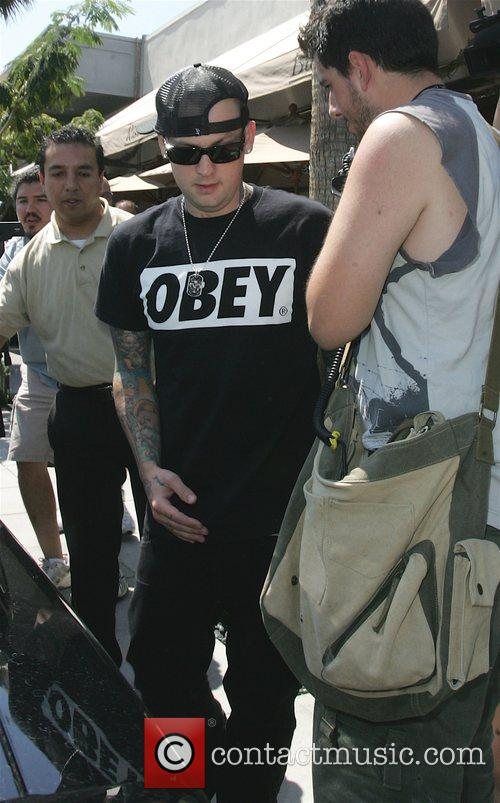 Benji Madden leaving Il Pastaio restaurant in Beverly...