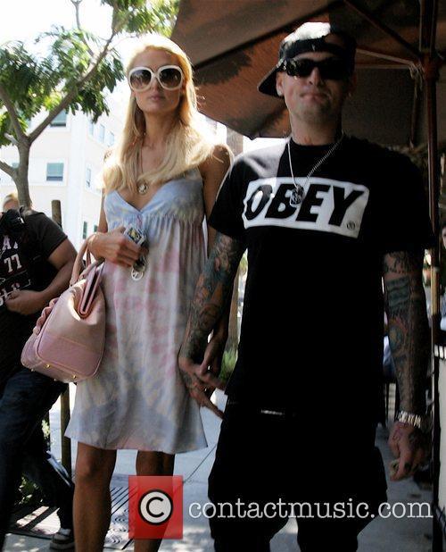 Paris Hilton and Benji Madden leaving Il Pastaio...