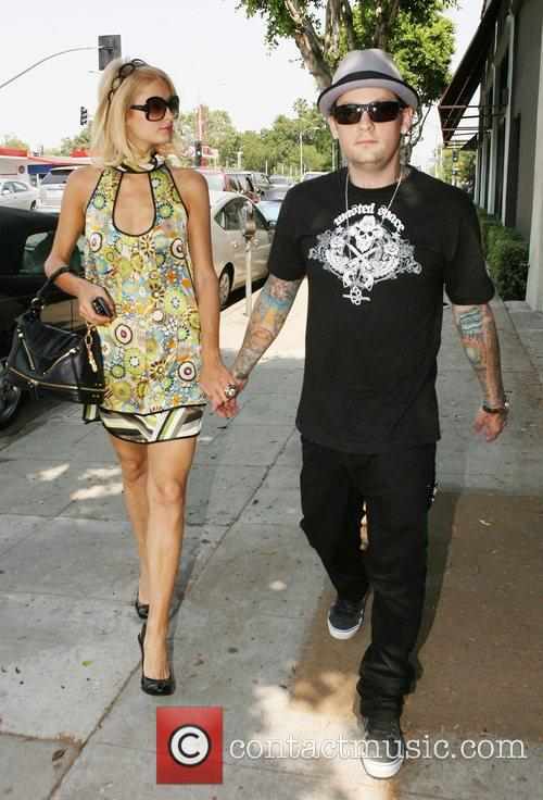 Paris Hilton and Benji Madden arriving at the...