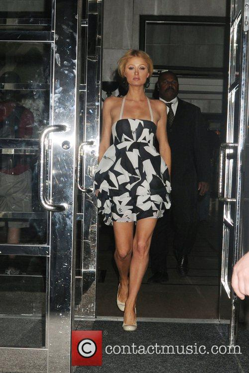 Paris Hilton leaving her Manhattan hotel wearing a...