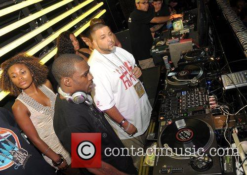 K-Foxx, DJ Stevie J and DJ Kahled playing...