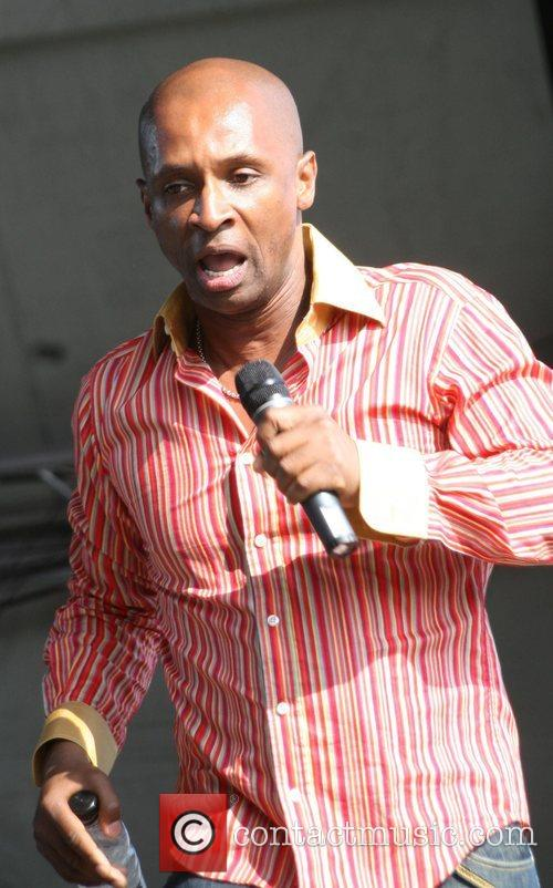 Andy Abraham performing on stage at Party in...