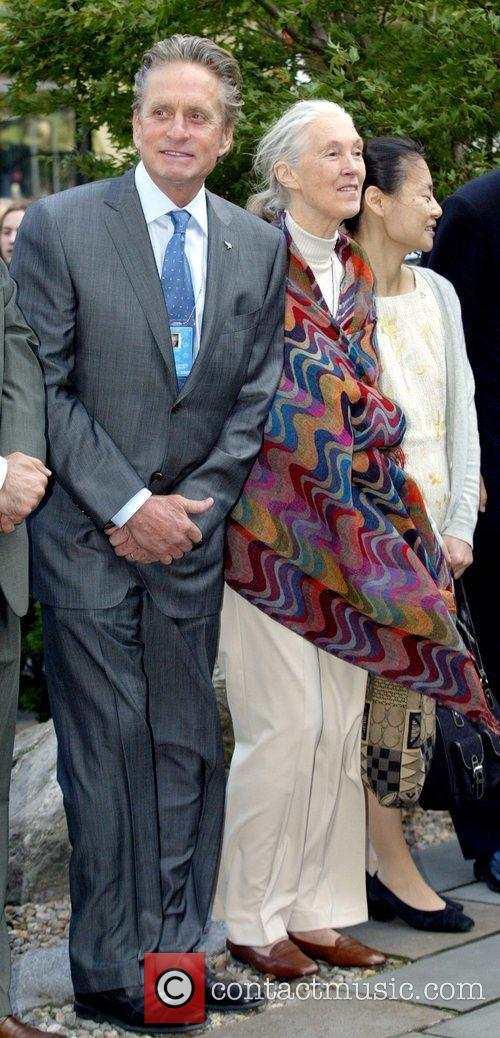 Michael Douglas and Jane Goodall attending the 'Ringing...