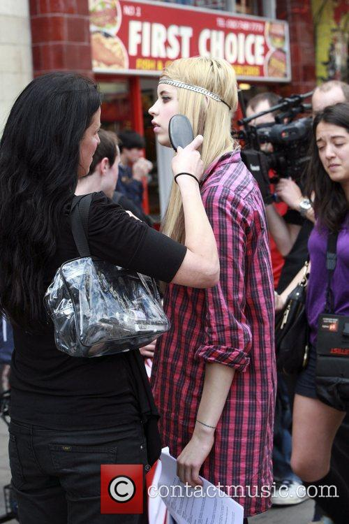 Peaches Geldof filming for ITV2 at the iTunes...