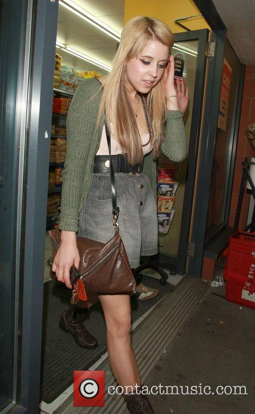 Peaches Geldof stopping at a shop after attending...