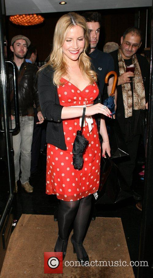 Heidi Range leaving the Percy and Reed Launch...