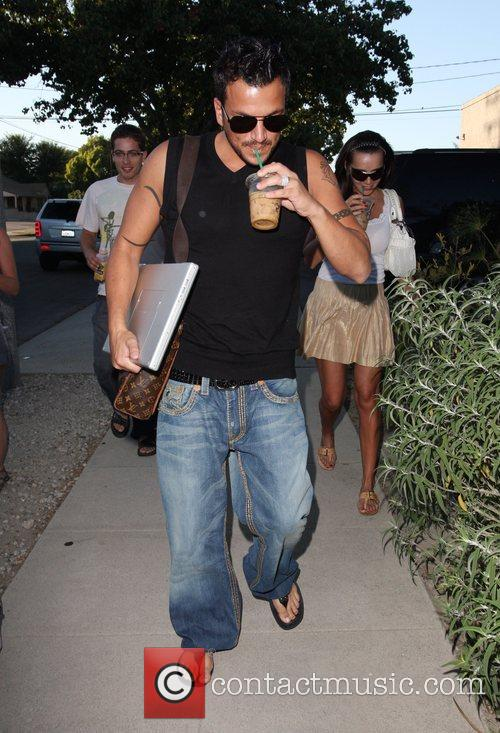 Peter Andre  arrives at the recording studio...