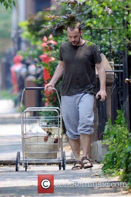 Running errands near his Brooklyn home