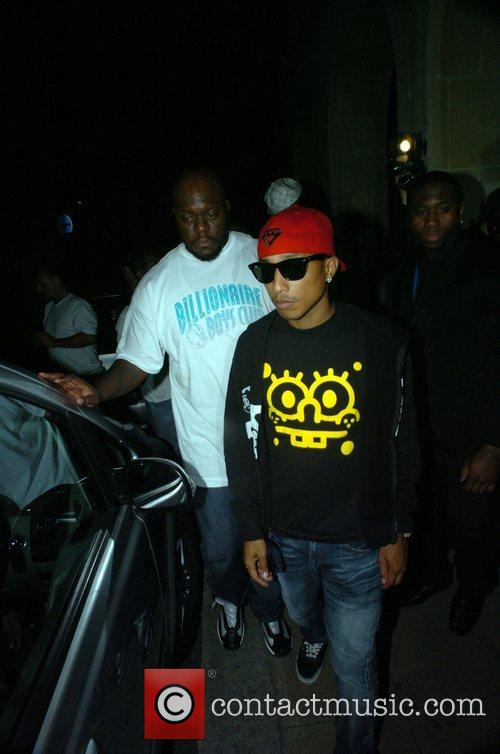 Pharrell Williams leaving Maddox club.