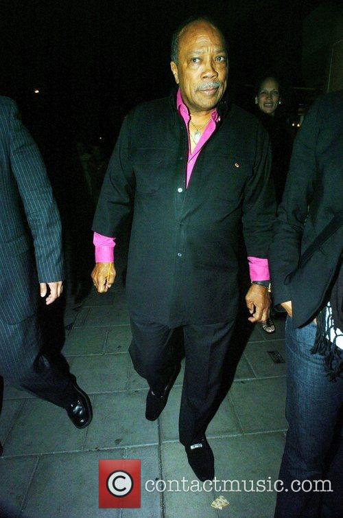 Quincy Jones  leaving Cipraini Restaurant after having...