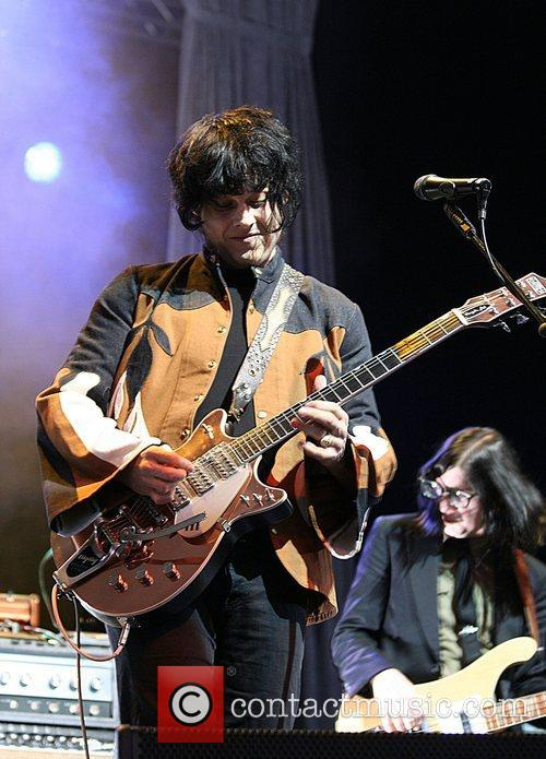 Jack White of The Raconteurs performing live at...