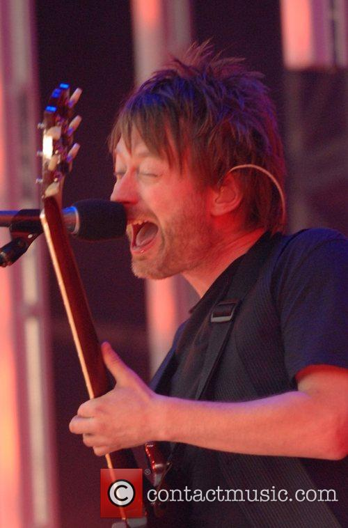 Thom Yorke of Radiohead performs at Victoria Park...