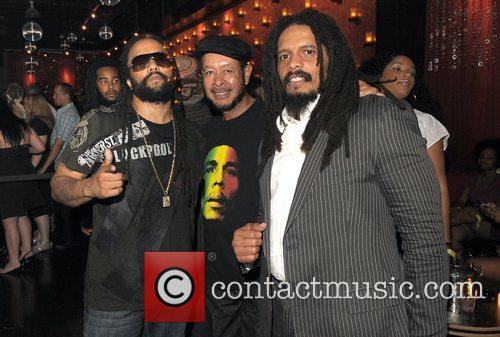 Ky-Mani Marley, Rohan Marley and guest at the...
