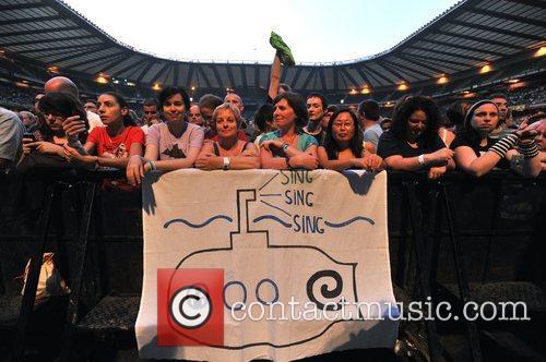 Atmosphere R.E.M performing live at Twickenham Stadium London,...