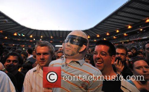 R.E.M performing live at Twickenham Stadium