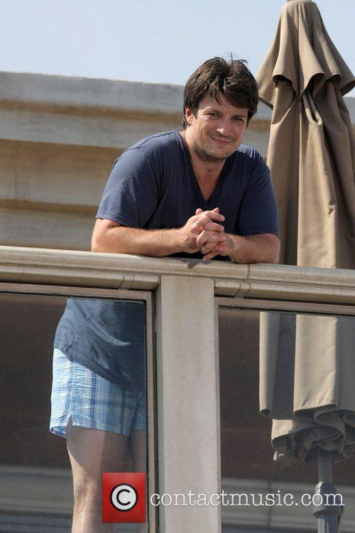 Nathan Fillion on the set of his upcoming...