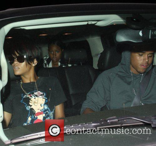 Rihanna and Chris Brown leaving Mastro restaurant