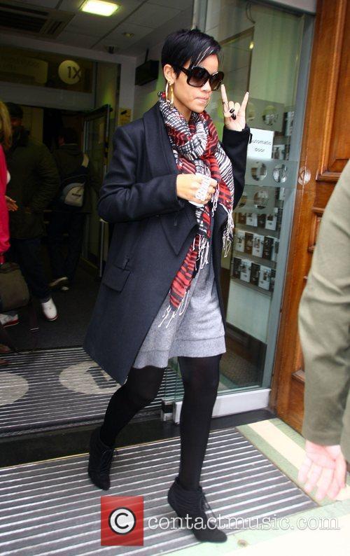 Rihanna leaving the Radio 1 studio London, England