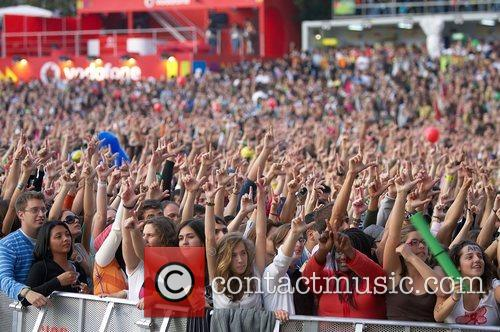 Crowds of people at Rock in Rio Lisboa...