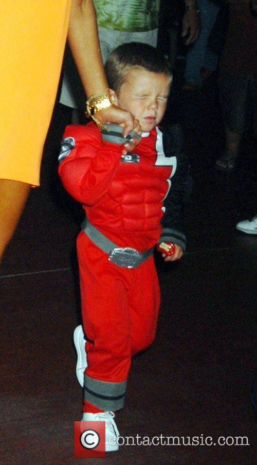 Cruz Beckham at his brother's 6th birthday party...