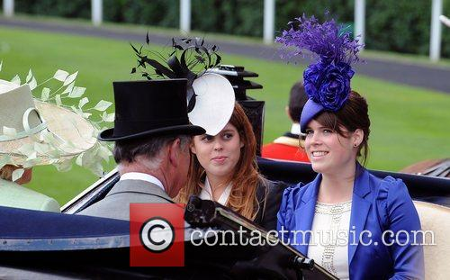 Princess Beatrice and Princess Eugenie  arrives by...