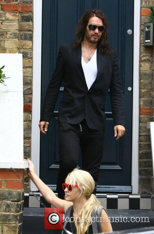 Russell Brand and his girlfriend Teresa Palmer leaving...