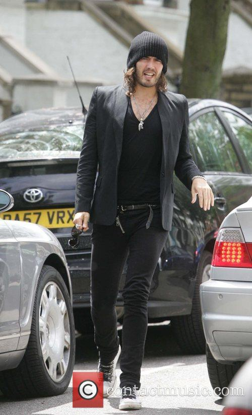 Russell Brand at a coffee shop in Hampstead...