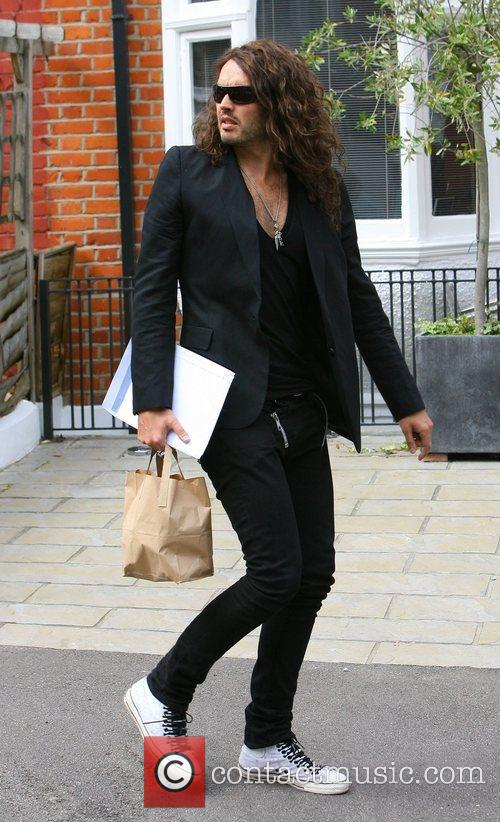 Russell Brand  arrives back home after a...
