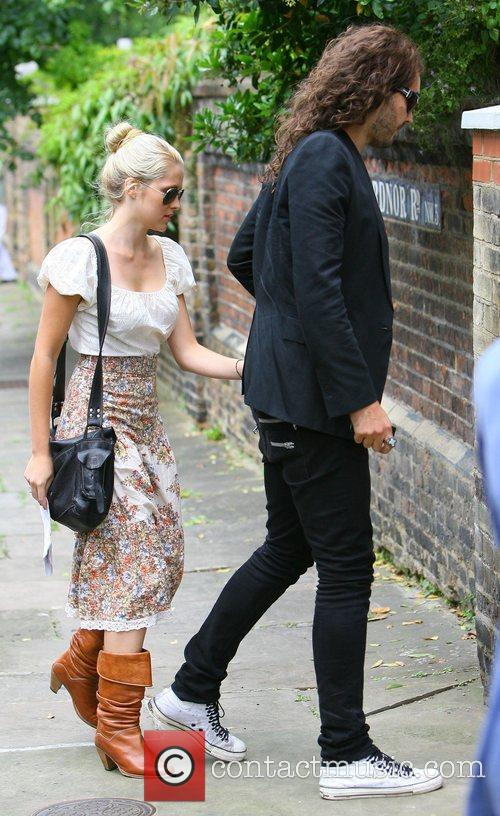 Russell Brand and his girlfriend Teresa Palmer arrive...