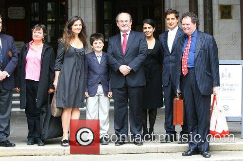 Salman Rushdie and Elizabeth West leaves the High...