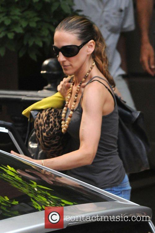 Sarah Jessica Parker leaves her West Village home...