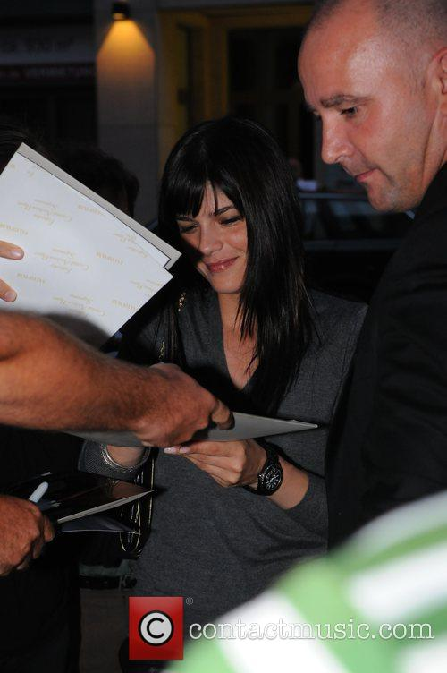 Selma Blair arriving at Borchardt restaurant around 8pm...