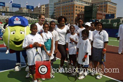 Serena Williams participated in a tennis clinic for...