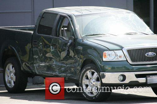 Shia LeBouf's wrecked Green ford pick up truck...