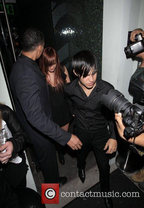 Newlyweds Ashlee Simpson and Pete Wentz leaving Foxtail...