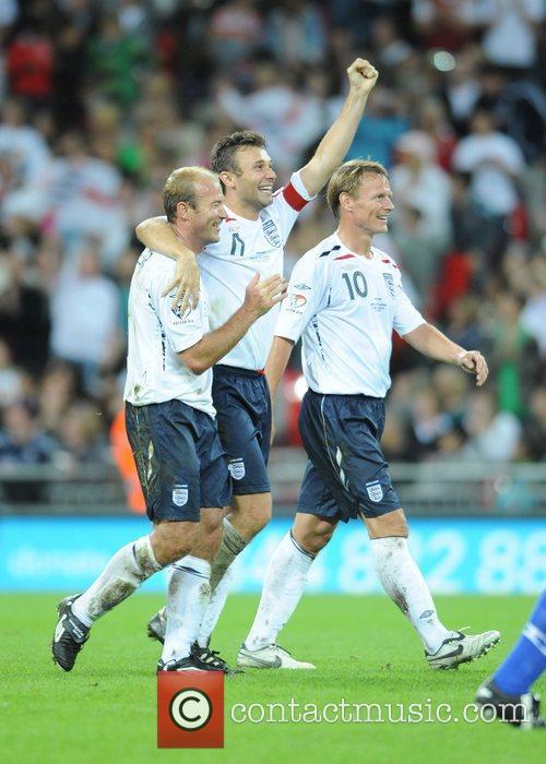 Alan Shearer, Jonathan Wilkes and Teddy Sheringham celebrate...